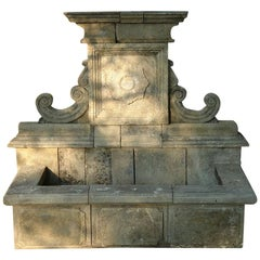 Provence Wall Fountain Handcrafted in Limestone with Antique Patina