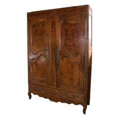 Provenzal Style Cupboard or Wardrobe, Walnut Wood and Root,18thc. Lacks Moulding