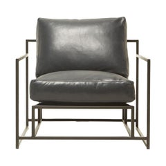 Providence Blue Smoke Leather and Blackened Steel Armchair V2