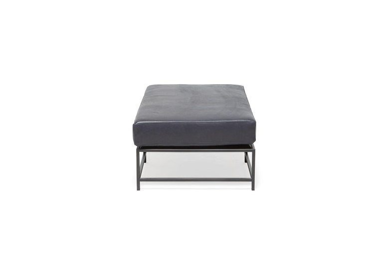 Providence Blue Smoke Leather and Blackened Steel Bench In New Condition For Sale In Los Angeles, CA