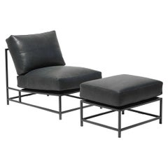 Providence Blue Smoke Leather and Blackened Steel Chair and Ottoman Set