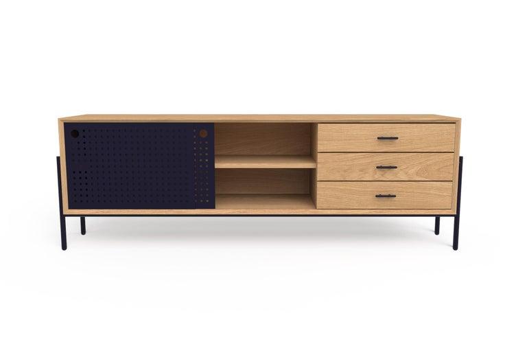 Modern Providencia Media Cabinet, White Oak and Metal, Contemporary Mexican Design For Sale