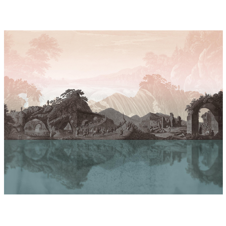 Province de Kerman - custom mural wallpaper (pinkish grey & turquoise)