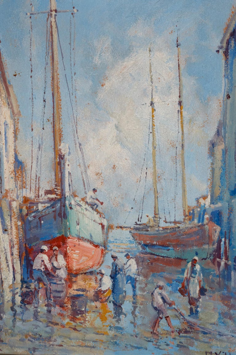 Provincetown Dock, 1925 oil on board by well listed American artist Arthur Vidal Diehl ( 1870-1929) Diehl was born in England, worked in Europe, and later moved to the United States. He summered on Cape Cod every year from 1912 until his death in