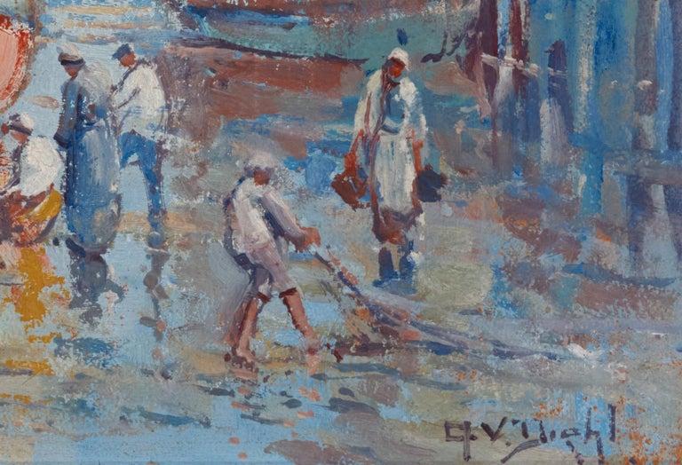 Hand-Painted Provincetown Dock, 1920s, Arthur Vidal Diehl 'American' For Sale