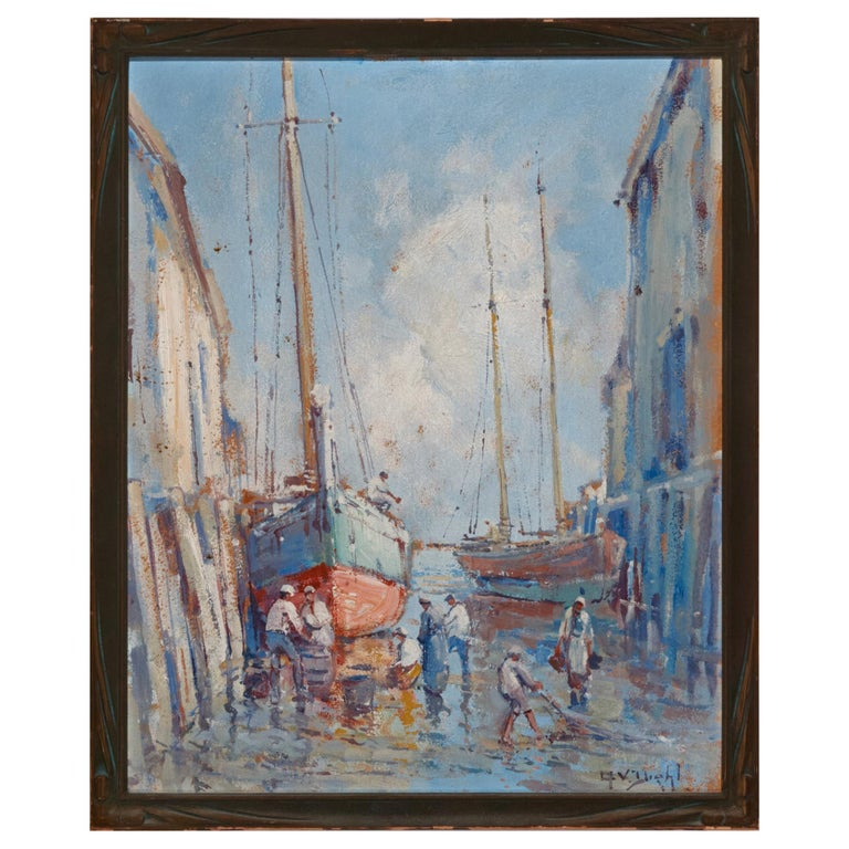 Provincetown Dock, 1920s, Arthur Vidal Diehl 'American' For Sale