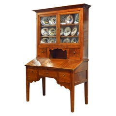 French Provincial Plantation Style Walnut Secretary Desk and Bookcase, 19th C.
