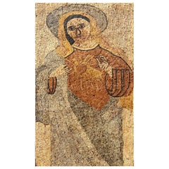 Provincial Byzantine Stone Mosaic of the Madonna and the Sacred Heart Life-Size