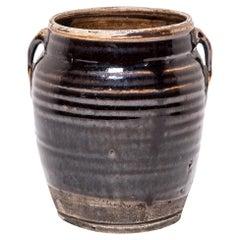 Provincial Chinese Glazed Kitchen Jar