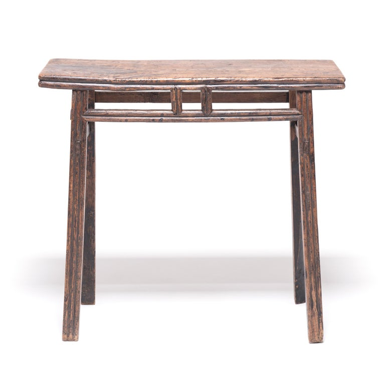 Qing Provincial Chinese Stacked Stretcher Console Table For Sale