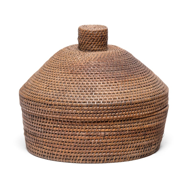 Qing Provincial Chinese Woven Summer Hat Box, circa 1850 For Sale
