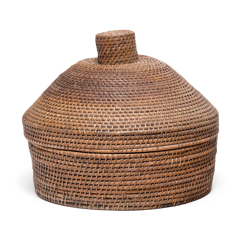 Hand-Woven Provincial Chinese Woven Summer Hat Box, circa 1850 For Sale