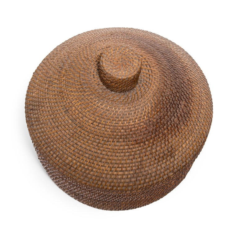 Provincial Chinese Woven Summer Hat Box, circa 1850 In Good Condition For Sale In Chicago, IL