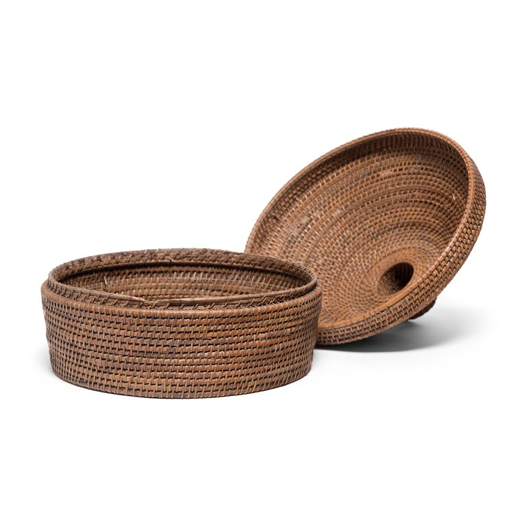 Reed Provincial Chinese Woven Summer Hat Box, circa 1850 For Sale