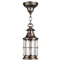 Provincial Darkened Nickel and Glass Lantern, circa 1930