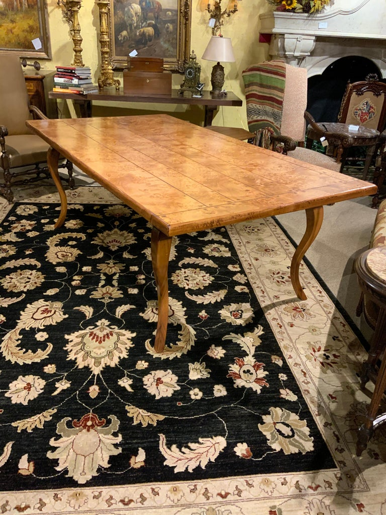 Contemporary Provincial Louis XV Style Burl Elm and Fruitwood Farm Table For Sale