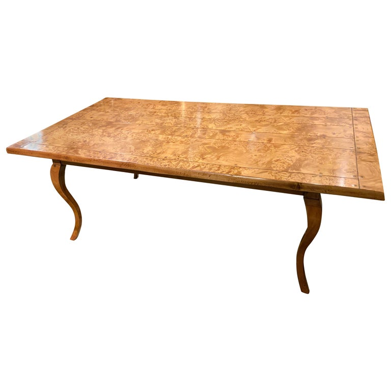Provincial Louis XV Style Burl Elm and Fruitwood Farm Table For Sale
