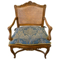Provincial Louis XV Style Carved Cane Bergère or Office Armchair