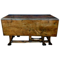 Provincial Portuguese Hardwood Swing-Leg Table