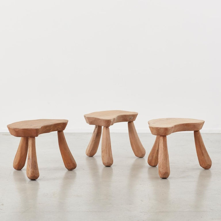 Primitive Provincial Wooden Stools/Tables France, Late 20th Century