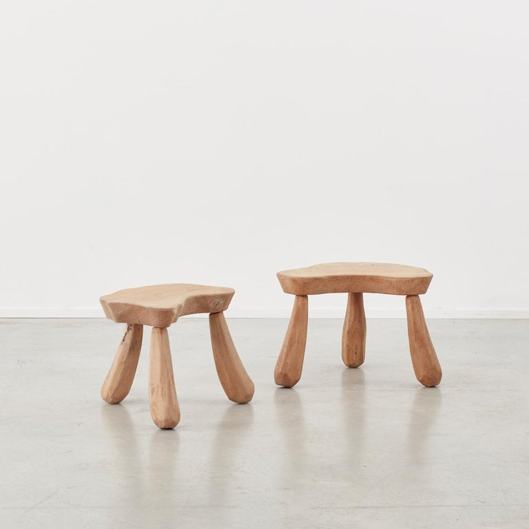 Hand-Carved Provincial Wooden Stools/Tables France, Late 20th Century