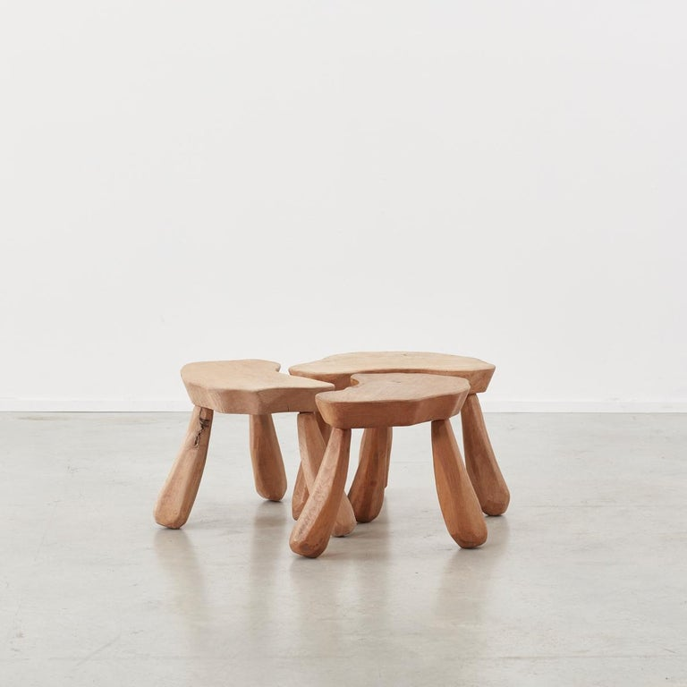 Provincial Wooden Stools/Tables France, Late 20th Century 2