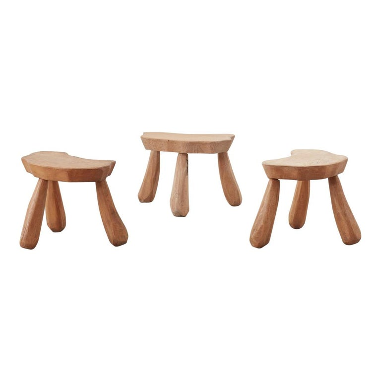 Provincial Wooden Stools/Tables France, Late 20th Century