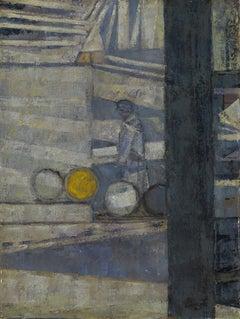 Barrels in a Yard - 20th Century, Oil on canvas by Prunella Clough