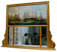 Prussian Trumeau Mirror and Painting