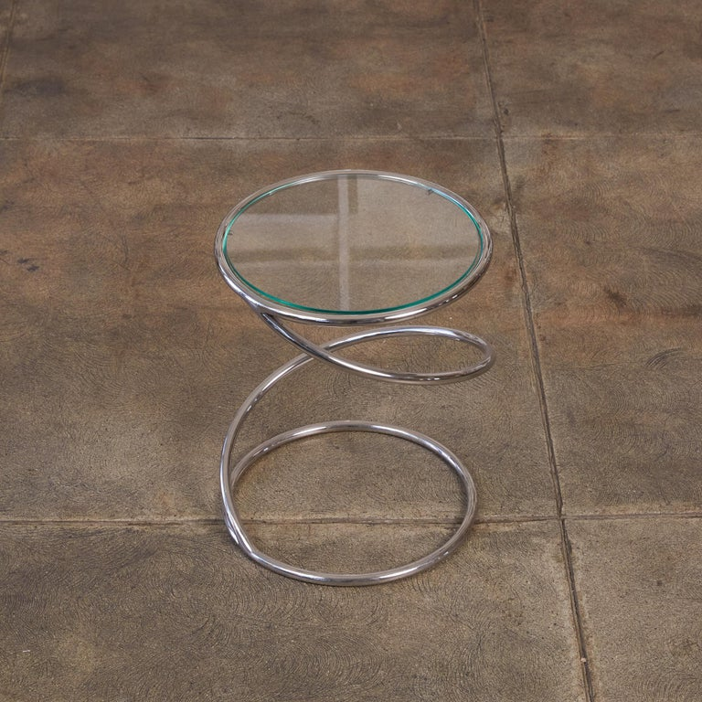 Chrome PS-12 Spiral Side Table by Brueton For Sale