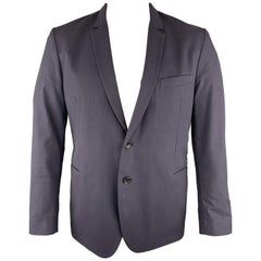 PS by PAUL SMITH Chest Size 44 Solid Navy Cotton / Elastane Sport Coat