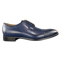 PS by PAUL SMITH Size 11 Navy Antique Leather Cap Toe Lace Up Dress Shoes
