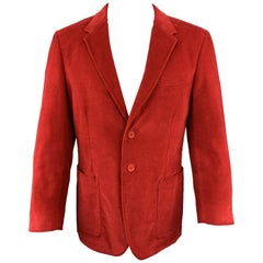 PS by PAUL SMITH Size 40 Red Corduroy Notch Lapel Single Breasted 2 Button Sport