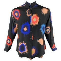 PS by PAUL SMITH Size M Black & Multi-Color Silk Long Sleeve Shirt