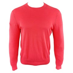 PS by PAUL SMITH Size S Pink Cotton Crew-Neck Contrast Stitch Pullover Sweater