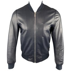 PS by PAUL SMITH Size XS Navy Leather Zip Up Ribbed Cuffs Rivet Jacket
