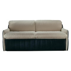 PS I Love You 2-Seat Sofa in Bouclè Fabric and Aniline Black Leather
