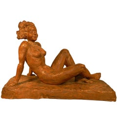 P.Serste, Large Art Cedo Terracotta Sculpture, Signed