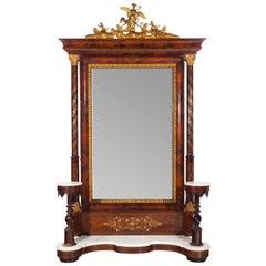 Psiqué Dressing Mirror, Mahogany, Bronze, Marble, 19th Century