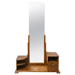 Psyche Full Length Mirror Dressing Table Vanity Cabinet, French, circa 1930