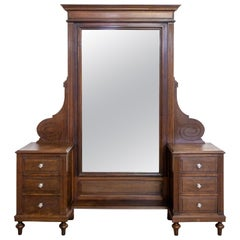 Psyche Full Length Mirror Dressing Table with Drawers, French, circa 1940