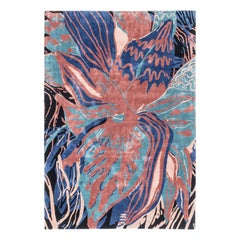 Psychedelic Flower, Handknotted Rug Made in Silk, New Zeland Wool and Linen