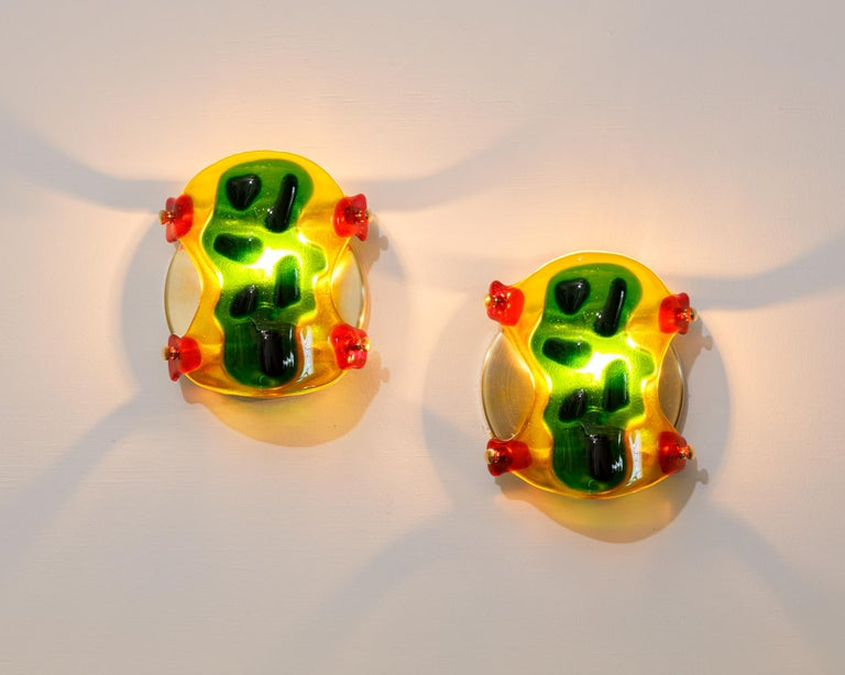 Modern Psychedelic Shells, Pair of One of a Kind Glass Contemporary Sconces For Sale