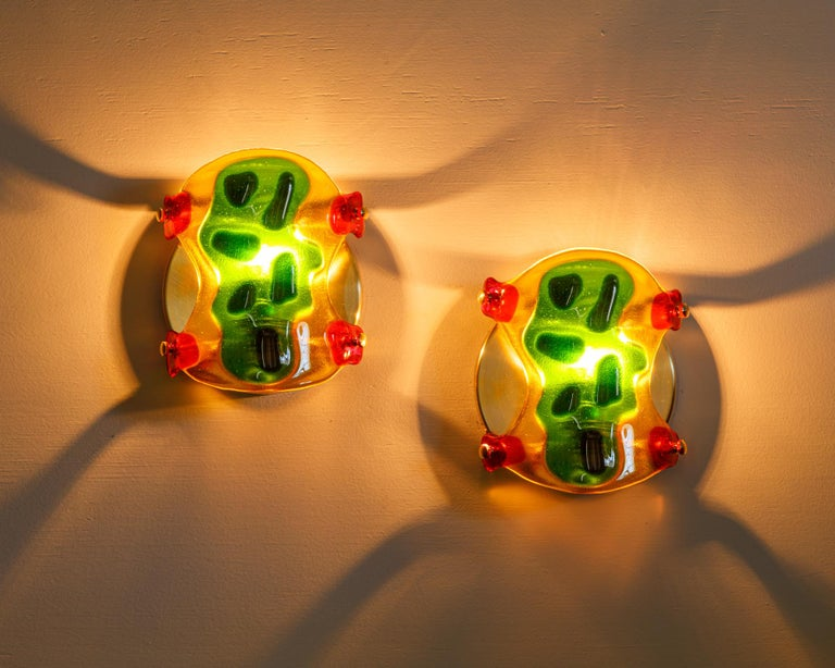 American Psychedelic Shells, Pair of One of a Kind Glass Contemporary Sconces For Sale