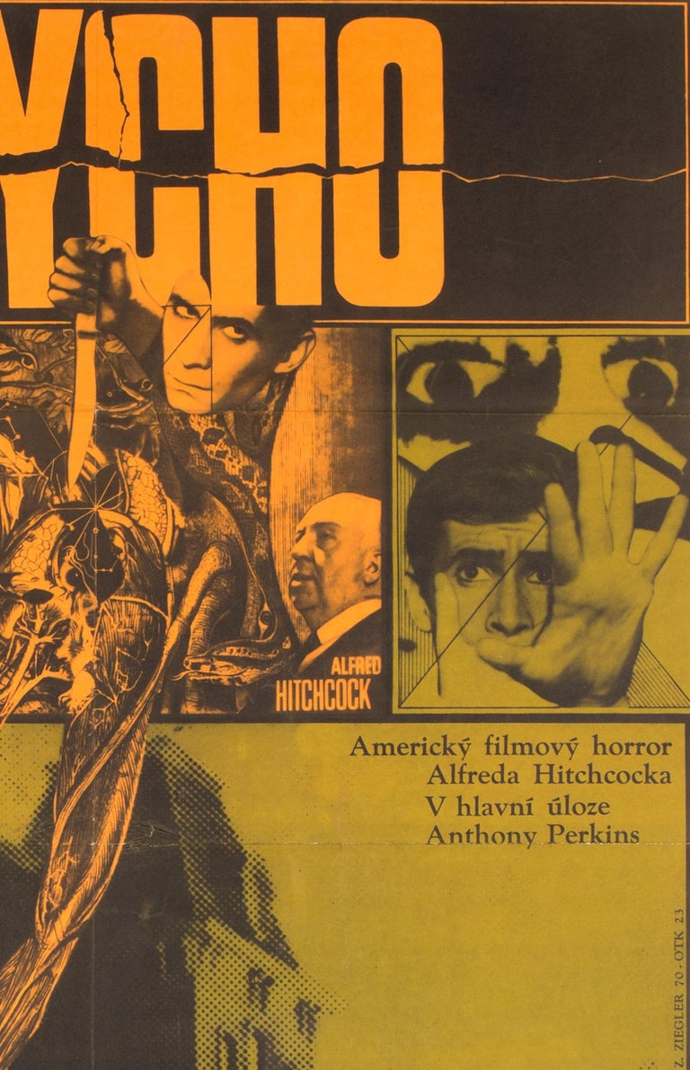 Appropriately dark, creepy and very cool artwork by Ziegler features on the Czech film poster for Hitchcock's movie Psycho. The rarer larger Czech format.   Folded in excellent/ near mint condition.