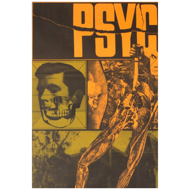"""""""Psycho"""", Czech Film Movie Poster, 1970, Hitchcock For Sale"""