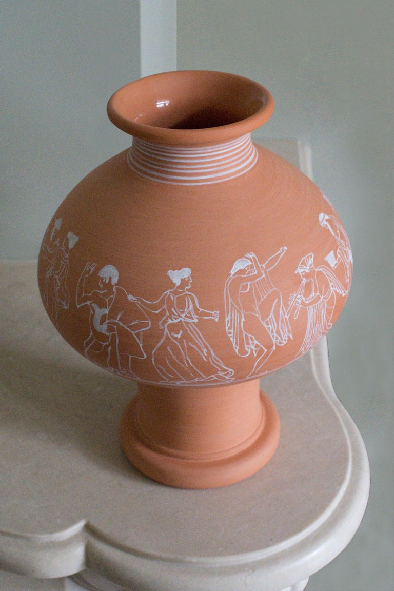 Italian Psykter, Decorated Terracotta Bouquet Vase, Classic Greek Ceramic Inspiration For Sale