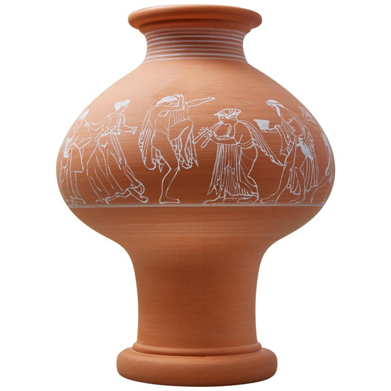 Psykter, Decorated Terracotta Bouquet Vase, Classic Greek Ceramic Inspiration For Sale