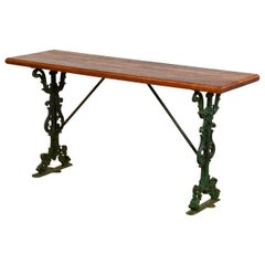 Pub Table with Cast Iron Base and Iroko Top, 20th Century