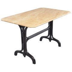 Pub Table with Marble Top and Ebonised Bentwood Base